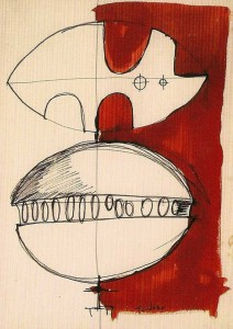 Studio per sculturaanni'70 tec.mista su cartacm34x23,5